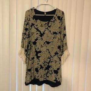 Tops - Navy, paisley lined blouse